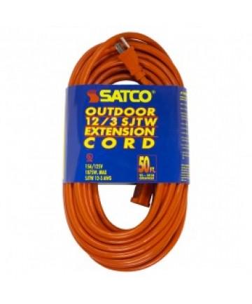Satco 93/5018 Satco 50 Feet #12/3 GA. SJTW-3 Orange Outdoor Extension Cord