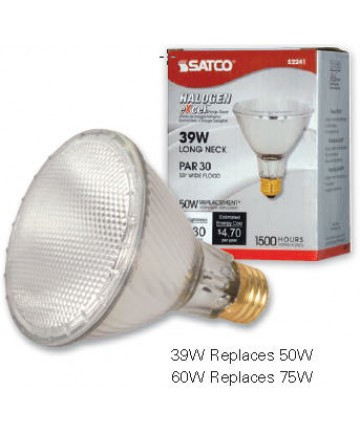 Satco S2242 60PAR30L/HAL/XEN/NSP Satco 60-Watt PAR30 Long Neck