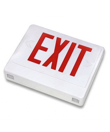 Exitronix VEX-U-BP-WB-WH-R - LED Exit Sign - 6 Inch Red Letter - 120V / 277V - Battery Backup - 12 Watt Remote Capability - White Thermoplastic - Exit Sign