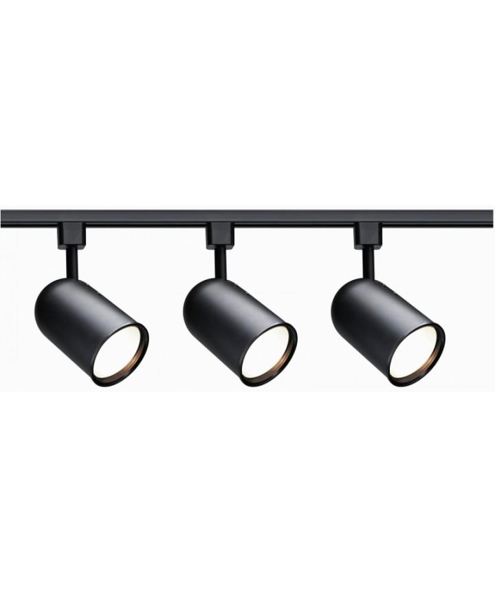 Nuvo Lighting Tk323 Track Lighting Kit Black 3 Light Bullet Cylinder Head R30 Incandescent Track Lighting