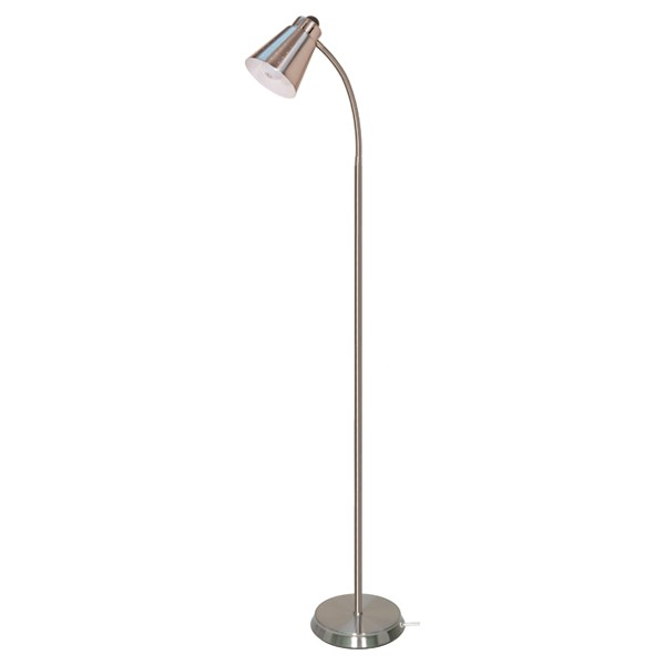 Satco 60 831 satco 60 831 brushed nickel goose neck floor lamp for Satco gooseneck floor lamp