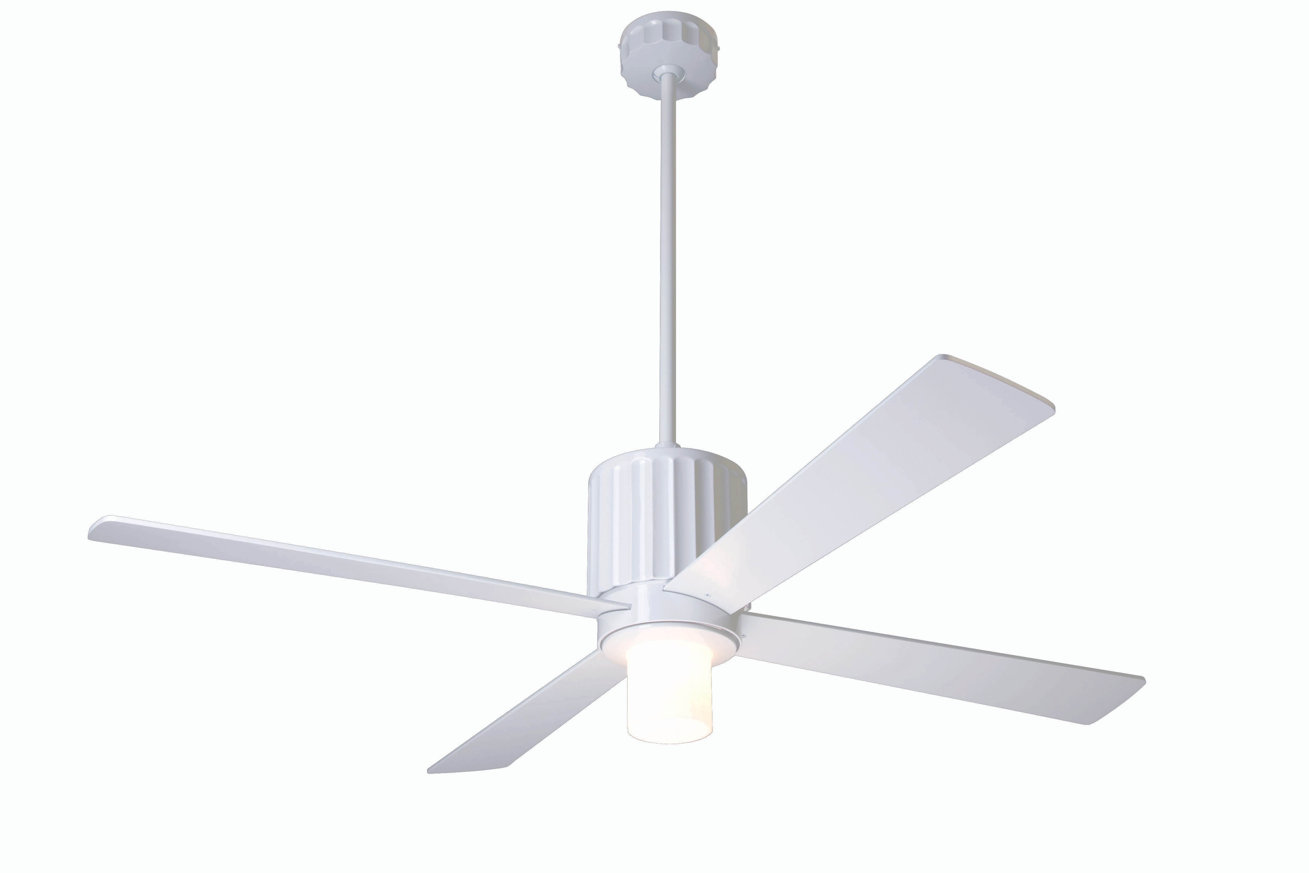 Modern fan company flu gw 42 wh 750 005 flute gloss white ceiling fan - Modern white ceiling fan ...