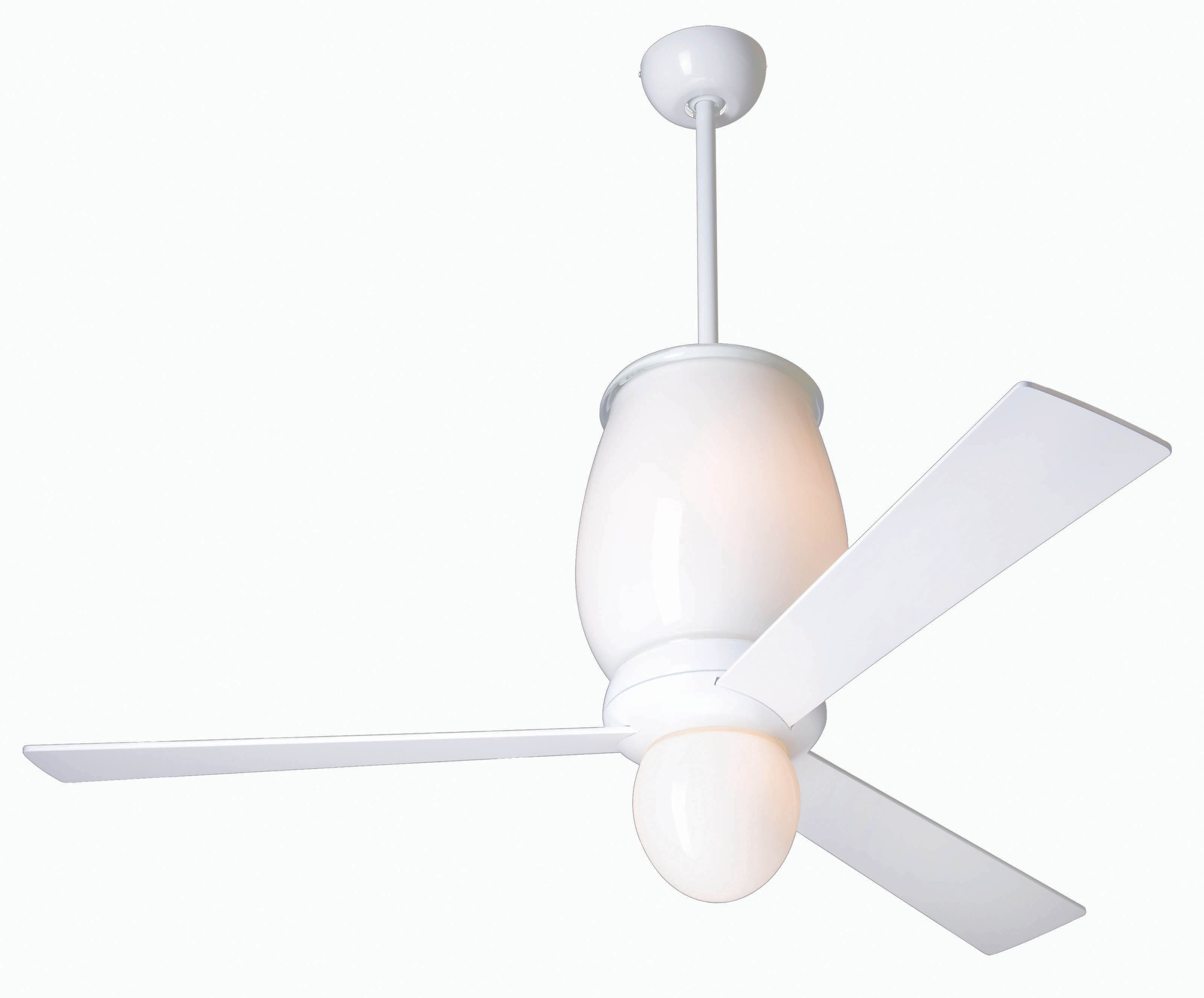 Modern fan company lum gw 42 wh in 005 lumina gloss white Modern white ceiling fan