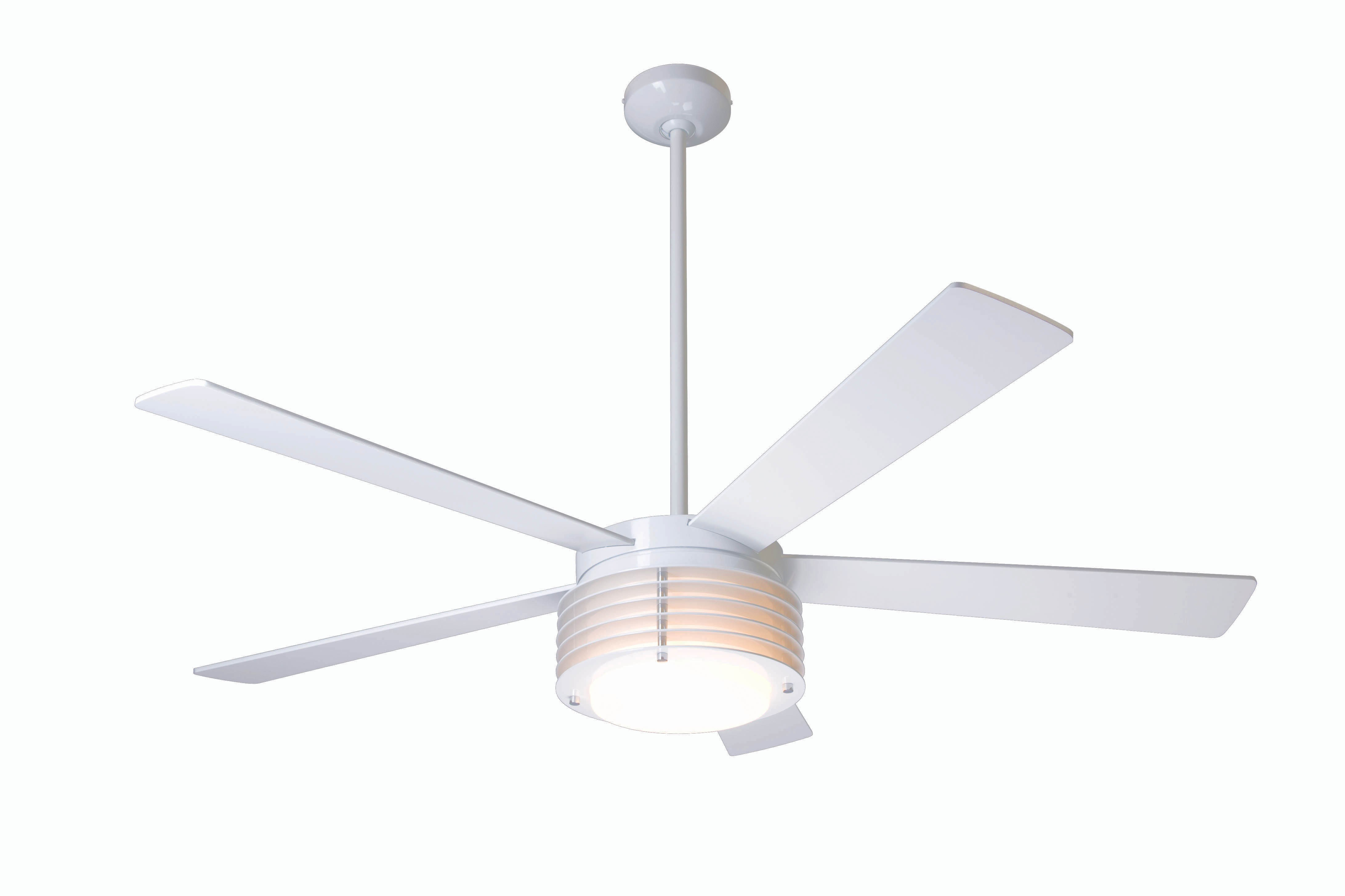 Modern fan company pha gw 52 nk in 005 pharos gloss white Modern white ceiling fan