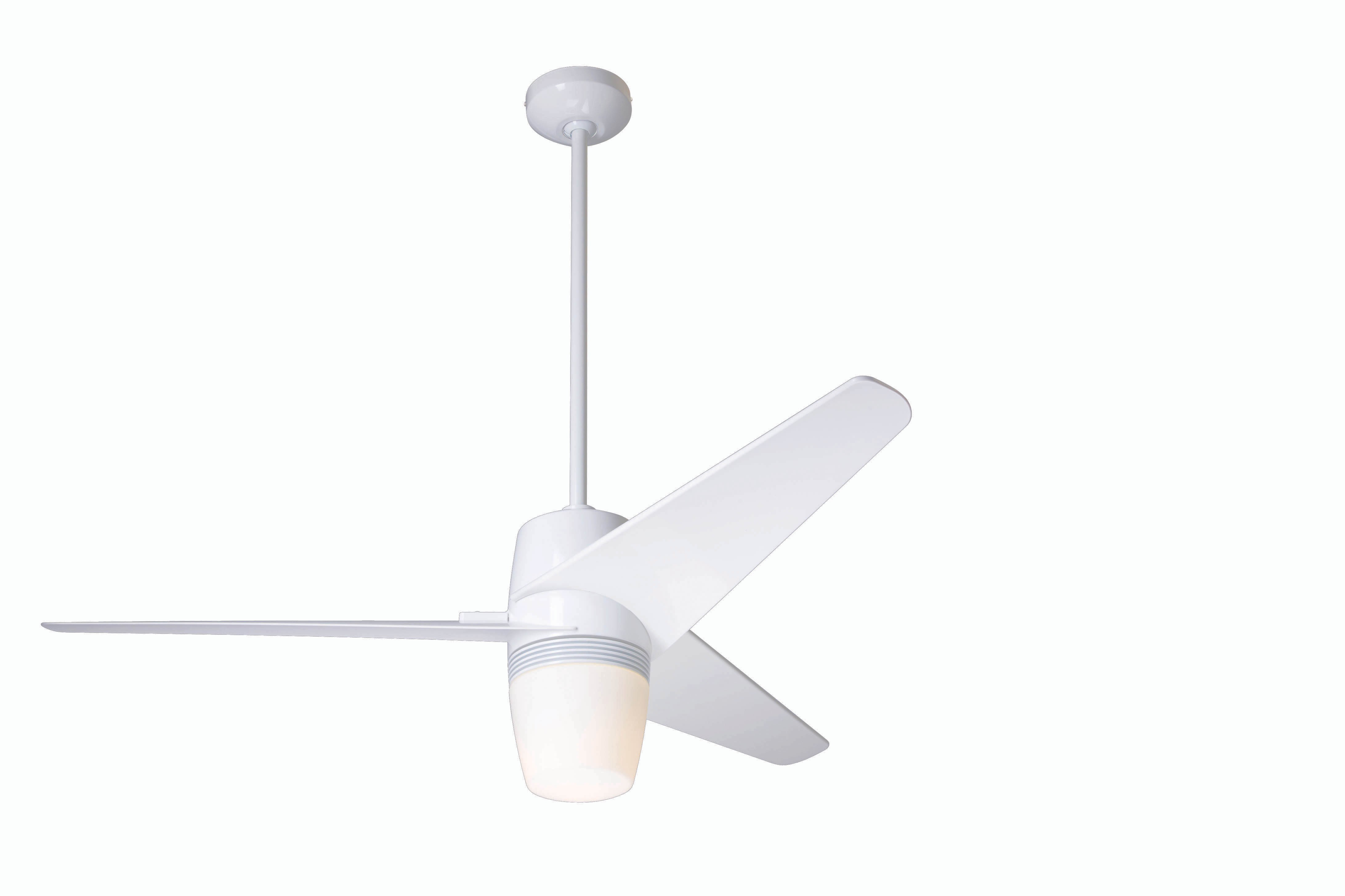 Modern fan company vel gw 50 nk 851 nc velo gloss white ceiling fan - Modern white ceiling fan ...