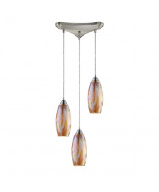 ELK Lighting 10076/3GI Iridescence 3 Light Golden Pendant in Satin Nickel
