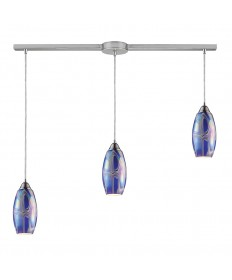 ELK Lighting 10076/3L-SBI Iridescence 3 Light Storm Blue Pendant in Satin Nickel