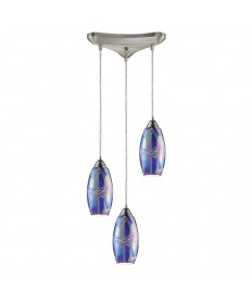 ELK Lighting 10076/3SBI Iridescence 3 Light Storm Blue Pendant in Satin Nickel