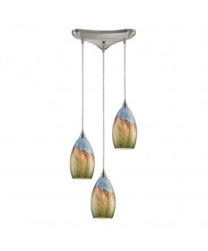 ELK Lighting 10077/3 Geologic 3 Light Pendant in Satin Nickel