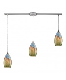 ELK Lighting 10077/3L Geologic 3 Light Pendant in Satin Nickel