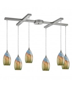ELK Lighting 10077/6 Geologic 6 Light Pendant in Satin Nickel