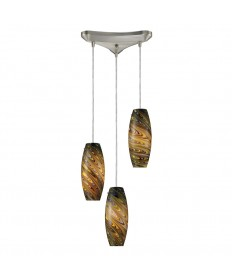 ELK Lighting 10079/3CV Vortex 3 Light Cellestial Pendant in Satin Nickel