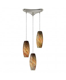 ELK Lighting 10079/3RV Vortex 3 Light Rainbow Pendant in Satin Nickel