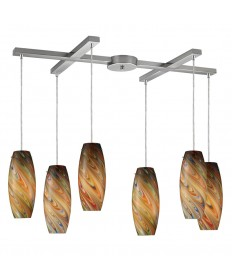 ELK Lighting 10079/6RV Vortex 6 Light Rainbow Pendant in Satin Nickel
