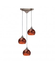 ELK Lighting 101-3ES Mela 3 Light Pendant in Satin Nickel and Espresso Glass