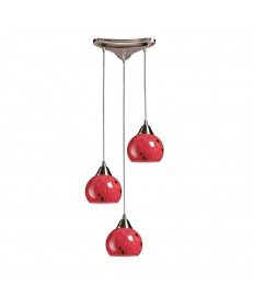 ELK Lighting 101-3FR Mela 3 Light Pendant in Satin Nickel and Fire Red Glass