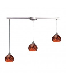 ELK Lighting 101-3L-ES Mela 3 Light Pendant in Satin Nickel and Espresso Glass