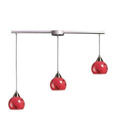 ELK Lighting 101-3L-FR Mela 3 Light Pendant in Satin Nickel and Fire Red Glass