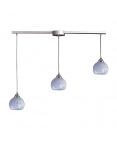ELK Lighting 101-3L-SW Mela 3 Light Pendant in Satin Nickel and Snow White Glass