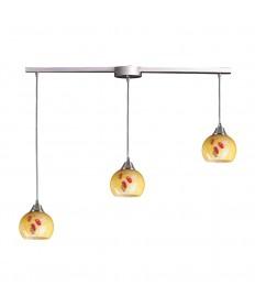 ELK Lighting 101-3L-YW Mela 3 Light Pendant in Satin Nickel and Yellow Blaze Glass