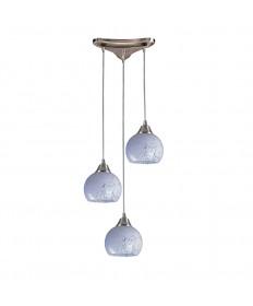ELK Lighting 101-3SW Mela 3 Light Pendant in Satin Nickel and Snow White Glass