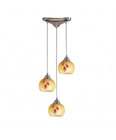 ELK Lighting 101-3YW Mela 3 Light Pendant in Satin Nickel and Yellow Blaze Glass