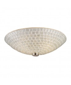 ELK Lighting 10139/2SLV Fusion 2 Light Semi-flush in Satin Nickel with Silver Mosaic Glass