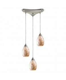 ELK Lighting 10141/3 Capri 3 Light Pendants in Satin Nickel