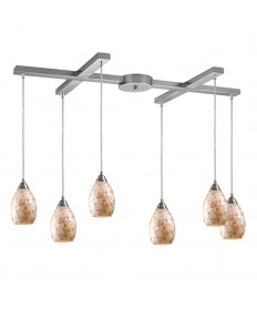 ELK Lighting 10141/6 Capri 6 Light Pendant in Satin Nickel