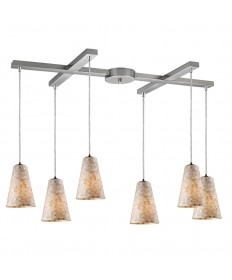 ELK Lighting 10142/6 Capri 6 Light Pendant in Satin Nickel
