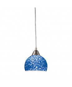 ELK Lighting 10143/1PB Cira 1 Light Pendant in Satin Nickel with Pebbled Blue Glass