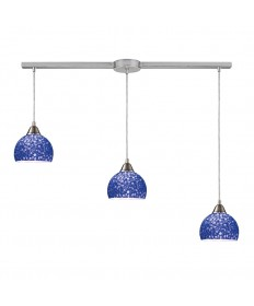 ELK Lighting 10143/3L-PB Cira 3 Light Pendant in Satin Nickel and Pebbled Blue Glass