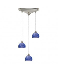 ELK Lighting 10143/3PB Cira 3 Light Pendant in Satin Nickel and Pebbled Blue Glass