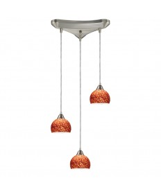 ELK Lighting 10143/3PE Cira 3 Light Pendant in Satin Nickel and Pebbled Espresso Glass