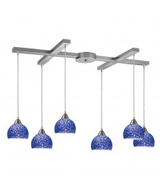 ELK Lighting 10143/6PB Cira 6 Light Pendant in Satin Nickel and Pebbled Blue Glass
