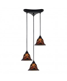 ELK Lighting 10144/3FS Firestorm 3 Light Pendant in Dark Rust