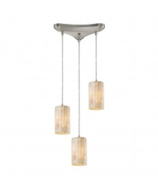 ELK Lighting 10147/3 Piedra 3 Light Genuine Stone Pendant in Satin Nickel