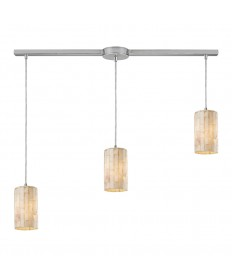 ELK Lighting 10147/3L Piedra 3 Light Linear Genuine Stone Pendant in Satin Nickel
