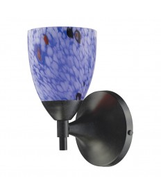 ELK Lighting 10150/1DR-BL Celina 1 Light Sconce in Dark Rust and Starburst Blue Glass