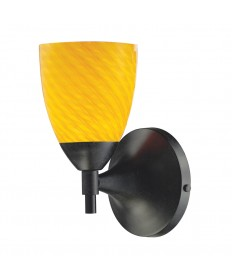 ELK Lighting 10150/1DR-CN Celina 1 Light Sconce in Dark Rust with Canary Glass