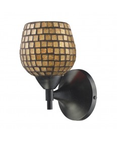 ELK Lighting 10150/1DR-GLD Celina 1 Light Sconce in Dark Rust with Gold Glass