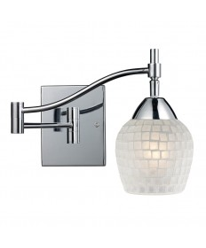 ELK Lighting 10151/1PC-WHT Celina 1 Light Swingarm Sconce in Polished Chrome and White Glass