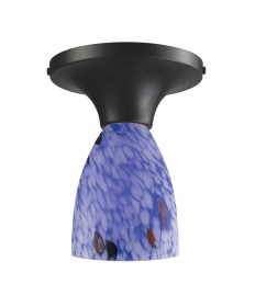 ELK Lighting 10152/1DR-BL Celina 1 Light Semi-flush in Dark Rust and Starburst Blue Glass