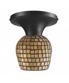 ELK Lighting 10152/1DR-GLD Celina 1 Light Semi-flush in Dark Rust and Gold Leaf Glass