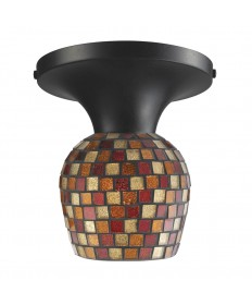 ELK Lighting 10152/1DR-MLT Celina 1 Light Semi-flush in Dark Rust and Multi Fusion Glass