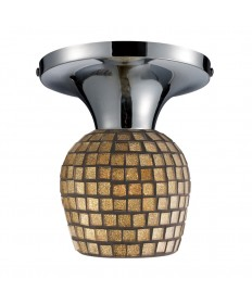 ELK Lighting 10152/1PC-GLD Celina 1 Light Semi-flush in Polished Chrome and Gold Leaf Glass