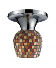 ELK Lighting 10152/1PC-MLT Celina 1 Light Semi-flush in Polished Chrome and Multi Fusion Glass