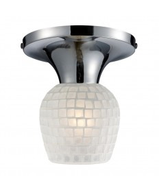ELK Lighting 10152/1PC-WHT Celina 1 Light Semi-flush in Polished Chrome and White Glass