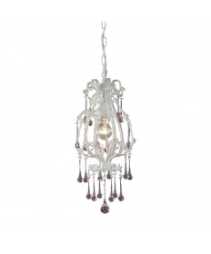 ELK Lighting 12003/1RS Opulence 1 Light Pendant in Antique White and Rose Crystals