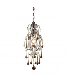 ELK Lighting 12013/1AMB Opulence 1 Light Pendant in Rust and Amber Crystals